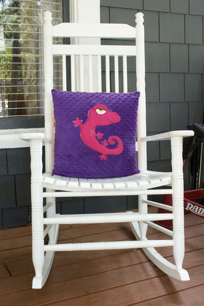 Ainsley Appliqued Gecko Minky Pillow