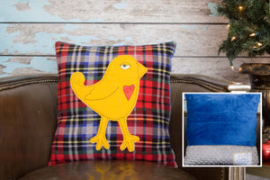 Alden Appliqued Bird Minky Pillow