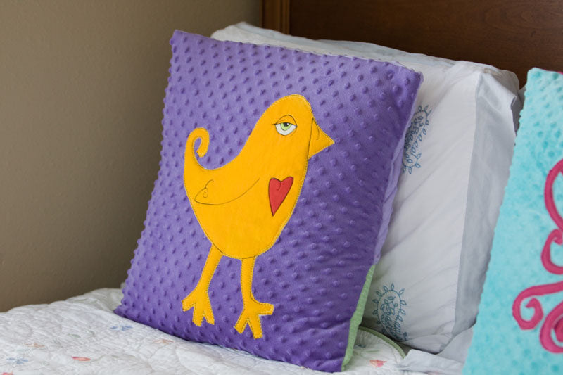 Ava Appliqued Bird Minky Pillow