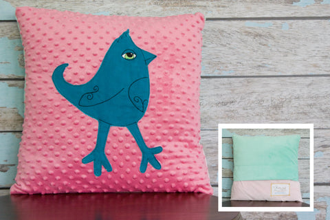Caroline Appliqued Mohawk Bird Minky Pillow