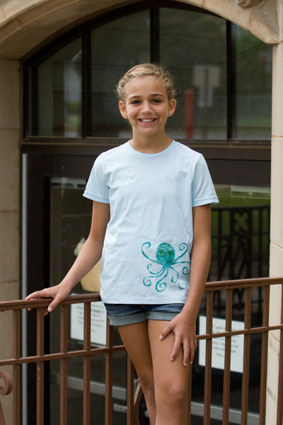 Sky Blue Printed Octopus Tee