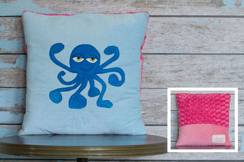 Emma Appliqued Octopus Minky Pillow