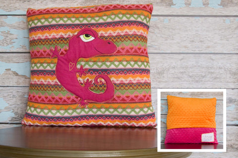 Fiesta Appliqued Gecko Pillow