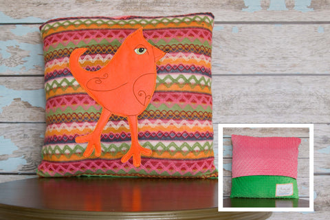 Fiesta Appliqued Mohawk Bird Pillow