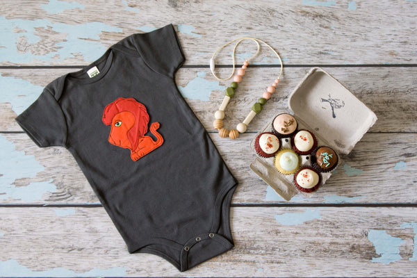 Red Lion on Charcoal Organic Onesie