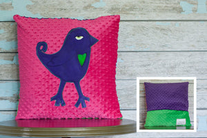Gracey Jayne Appliqued Bird Minky Pillow