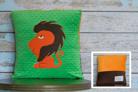 Hayes Appliqued Lion Minky Pillow