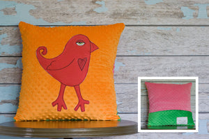 Indiana Appliqued Bird Minky Pillow