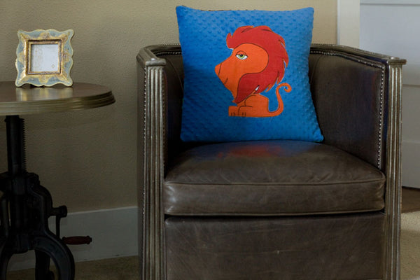 Leo Appliqued Lion Minky Pillow