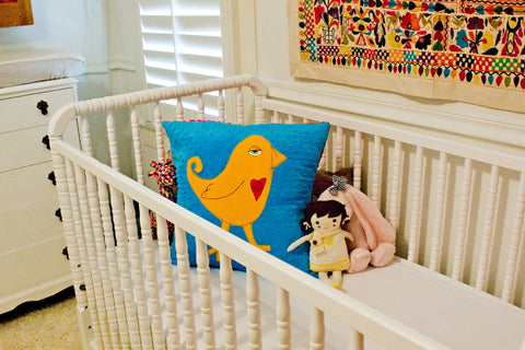 McDade Appliqued Bird Minky Pillow