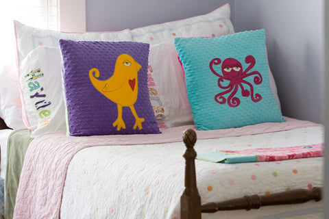 Cooper Appliqued Octopus Minky Pillow