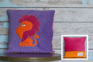 Reese Appliqued Lioness Minky Pillow