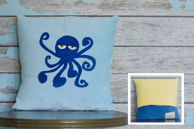 Rigby Appliqued Octopus Minky Pillow