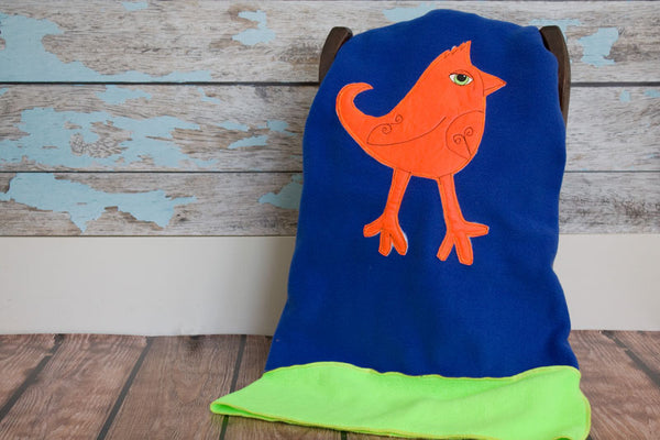 Teddy Appliqued Mohawk Bird Blanket