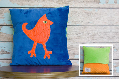 Teddy Appliqued Mohawk Bird Minky Pillow