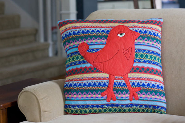 Tribal Red Appliqued Bird Pillow