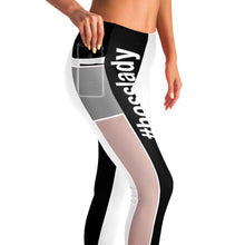 Mesh Pocket Leggins Black and White Bosslady
