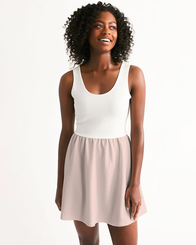 Light Pink Women's Scoop Neck Skater Dress