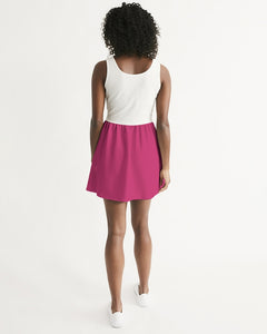 Scoop Neck Skater Dress White and Dark Pink