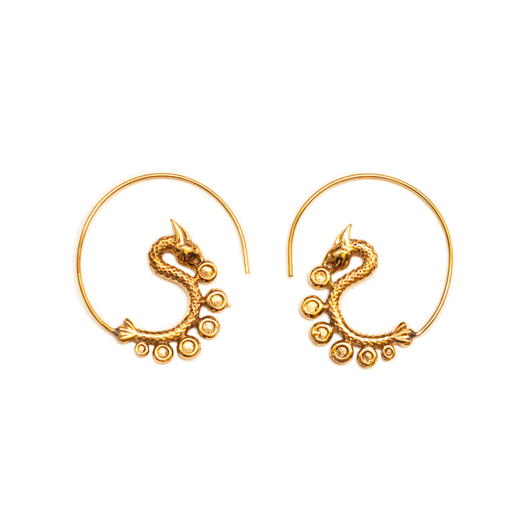 Dragon Brass Earrings