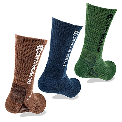 Men's Sports Compression Crew Socks (Cushioned Arch) - 3 Pack - Multi Color