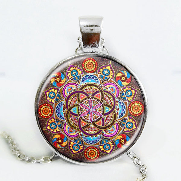 Silver plated necklace mandala necklaces