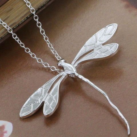 silver pendant Long dragonfly pendant