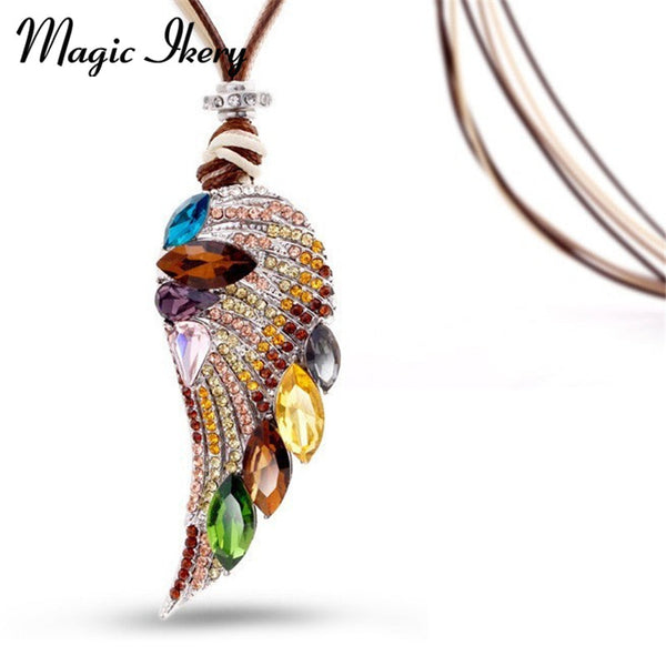 Rose Gold Color Crystal Luxury Feather Angel wings Long Necklaces