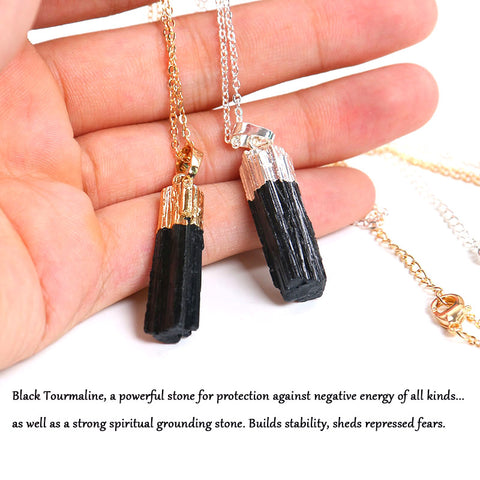 New Gold Silver Color Dipped Black Tourmaline Pendant Necklace Raw Stone Schorl Chakra Healing Crystal Point Pendant Colar