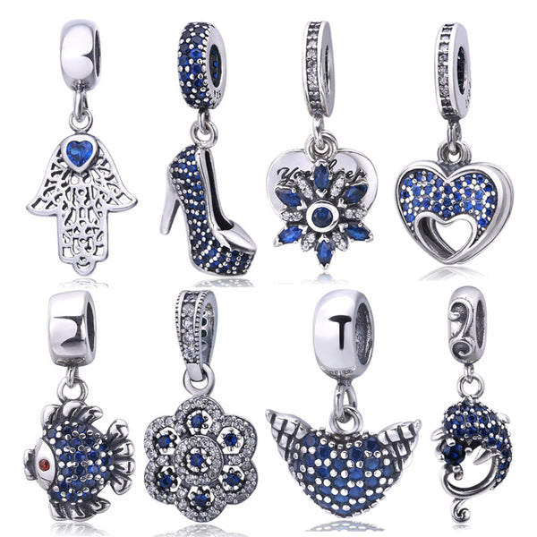 100% 925 sterling silver blue crystal pendant charm