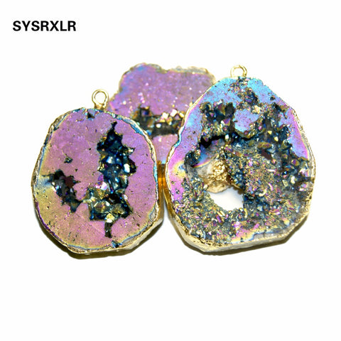 \Natural Unique Charm Crystal Druse Golden Plated Irregular Geode Stone Pendant