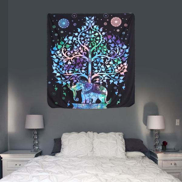 130x150cm/148x210cm Elephant Indian Printed Pattern Tapestry