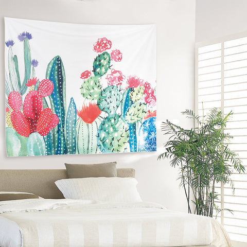 130*150cm Cactus Plant Printed Tapestry