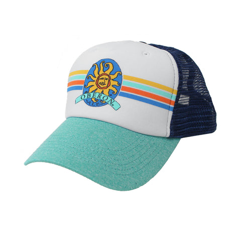 Oberon Ale Striped Trucker Hat - Teal/Navy