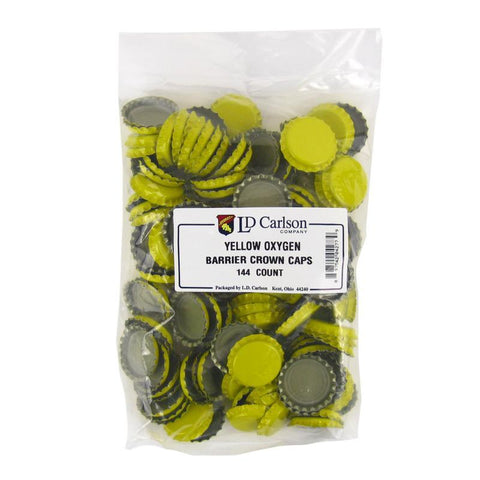 Crown Caps w/ Oxygen Barrier - 144 count - Yellow