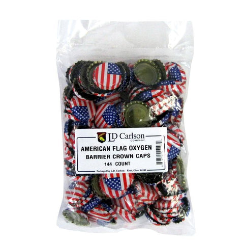 Crown Caps w/ Oxygen Barrier - 144 count - American Flag