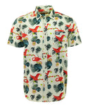 Men's Larry's Latest Flamingo Fruit Fight Short Sleeve Button Up Shirt