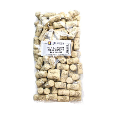 First Quality Corks 9x1 3/4 - 100 Count