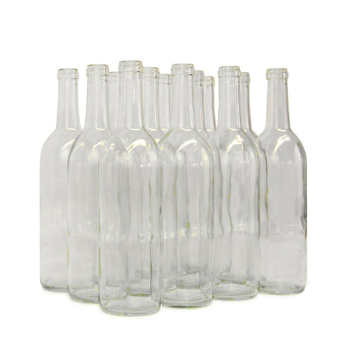 750mL Flat Bottom Clear Bordeaux (Claret) Bottles - case of 12