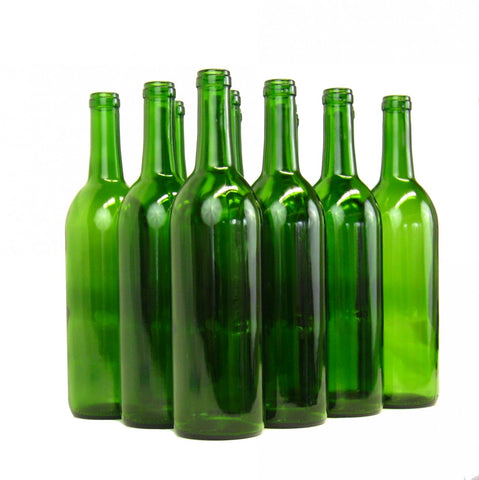 750mL Flat Bottom Green Bordeaux (Claret) Bottles - Screw Top - case of 12