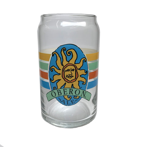 "Oberon Ale Striped ""Can"" Glass"