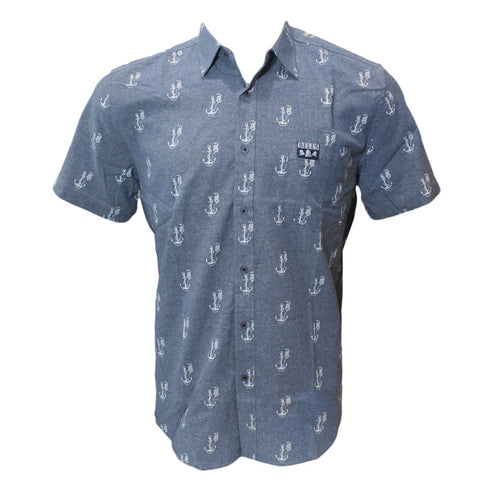 Men's Bell's Lager Anchor Short Sleeve Button Up