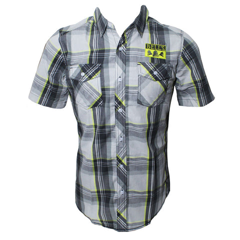 Men's Bell's Plaid Short Sleeve Button Up - Grey/Yellow