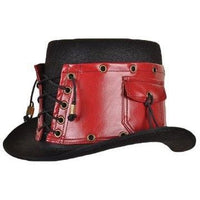 Red Leather Steampunk Hat