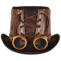 Brown Leather Steampunk Hat with Goggles