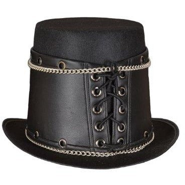 Deluxe  Black Leather Steampunk Hat