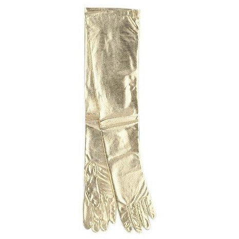 Shoulder Length Gold Lame Gloves Adult Halloween Accessory
