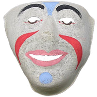 Vintage Handpainted Linen Clown Mask-
