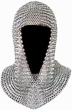 "Medieval Coif 15""  Chainmail metal link headpiece"
