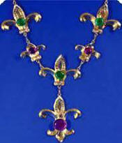 Mardi Gras Chain of Office  Gold Necklace w/Jewel Stones